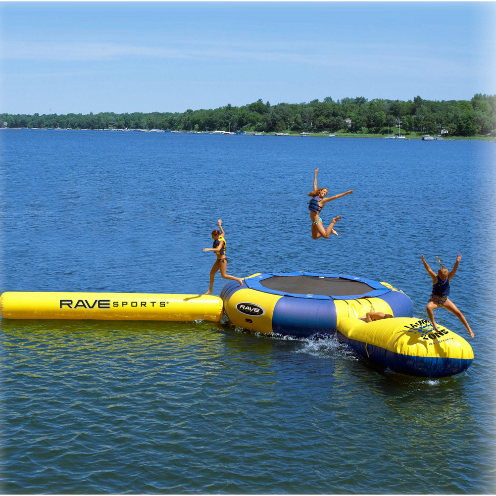 New and improved, Rave's Aqua Jump Eclipse Trampoline and Water Park allows you hours of bouncy fun without hours of putting it together. Designed to be long lasting without the heavy steel bars (it's 30% lighter and 50% faster to set up), The Aqua Jump Eclipse 150 Trampoline gives you 65 square feet of jump surface (30% more than before) capable of holding 2 adults or 4 children. Featuring 28 oz reinforced PVC, 1,000 Denier, Heat-Welded Seams you'll have a strong and durable trampoline to last summer after summer. Plus it has been anti-mold and mildew treated as well as UV-Treated so the brutal summer sun and elements won't wreak havoc on the Eclipse Water Park. Included with the water park is a Aqua Log which is fun to play on when not jumping and the Aqua Launch which is a blast - one person sits on the end, another jumps from the trampoline and sends that first person high in the air and into the water. Hours of good times, day-after-day, Rave's Aqua Jump Eclipse 150 Trampoline an