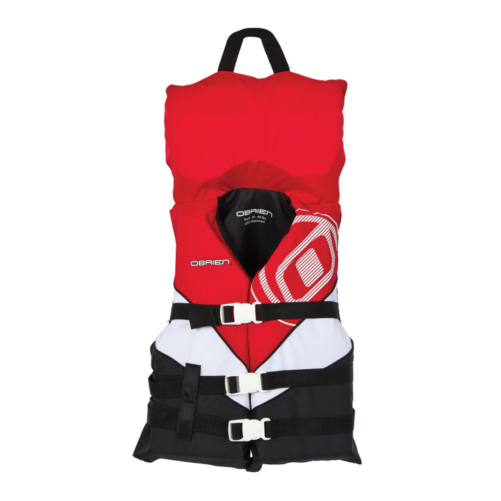 As a parent or guardian of a youth on or near any water, you can have peace of mind around any pool or lake knowing that this life vest has been United States Coast Guard approved. The O'Brien Youth Nylon Life Vest with Collar is constructed of the sturdiest materials available, and the bright colors allow you to locate a youth quickly and easily. The nylon material over the closed cell foam gives you durability and reliability while you spend quality time with your loved ones on the water. The collar allows you to pull your child to safety should that situation arise.***Please be sure to check your states Life Jacket State Requirements***  Nylon collar with grab strap for safety,  Three belts for security,  Closure: 3 Buckle, User Weight: 50-90lbs., Material: Nylon, Coast Guard Approved?: Yes, Kidsafe?: Yes, Coast Guard Approval Type: II, Model Year: 2019, Product ID: 257655, Also Known As: Life jackets are also commonly referred to as Life Vests and PFDs (Personal Flotation Device).