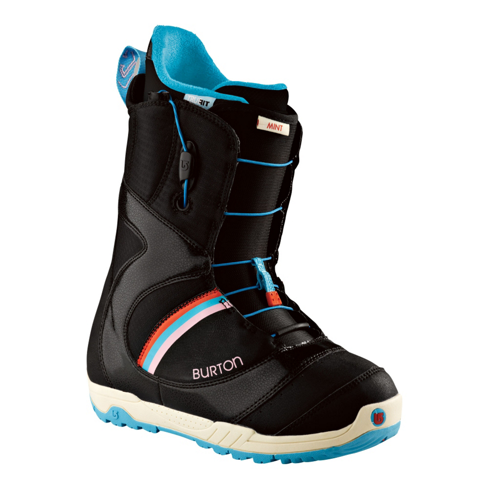 burton mint womens snowboard boots- Save 50% Off - The Burton Mint is the world's best selling womens snowboard boot for eight years and counting. The Mint features a women's-specific True Fit design so keep the boys away ladies. Speed Zone Lacing gives you the freedom to lace up exactly how you want to quickly and easily. The Imprint 1 Liner with integrated lacing keeps you locked in. Dual-component outsole with EVA cushioning dampens the ride and cushions your landings. Rubber Ice Spikes underneath provide the grip when you're walking on the white stuff. Total Comfort Construction means the Burton Mint is super comfy out of the box so get shreddin right away. Freshen your steeze with the Burton Mint snowboard boot.  Women's-Specific True Fit Design,  Imprint 1 Liner,  Grip Fit Backstay and Soft Flex 3D Molded Tongue,  Total Comfort Construction,  Material: Imprint 1 Liner, Lacing Style: Quick Lace, Snowboard Best Use: All-Mountain Freestyle, Removable Liner: Yes, Flex: Soft, Warranty: One Year, Intuition Liner: No, Brand Lacing Style: Speed Zone, Snowboard Boot Fit: Comfort, Skill Range: Intermediate - Advanced, Model Year: 2013, Product ID: 272100, Shipping Restriction: This item is not available for shipment outside of the United States., Gender: Womens, Skill Level: Intermediate, Model Number: 275290-0416.0, GTIN: 0886057774213