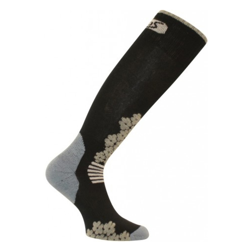 euro sock snowdrop medium womens ski socks- Save 50% Off - The Euro Sock Snowdrop Medium Ski Sock combines functionality with style to bring you a very comfy sock for the next time you hit the slopes.  These socks offer medium density padding for comfort and an elastic ankle for support.  This elasticized woven arch and ankle ensures that you have the support you need in whichever direction you're shifting your feet.  For added comfort these socks are breathable and have moisture evaporating properties so your feet can remain dry.  Medium Density Padding,  Elastic Arch Support,  Flat Knit,  Smooth Toe Seam,  Model Year: 2013, Product ID: 284798, Model Number: W0712 BLAC S, GTIN: 0802433691240, Weight: Mid, Type: Ski, Material: Synthetic, Battery Heated: No, Warranty: Other