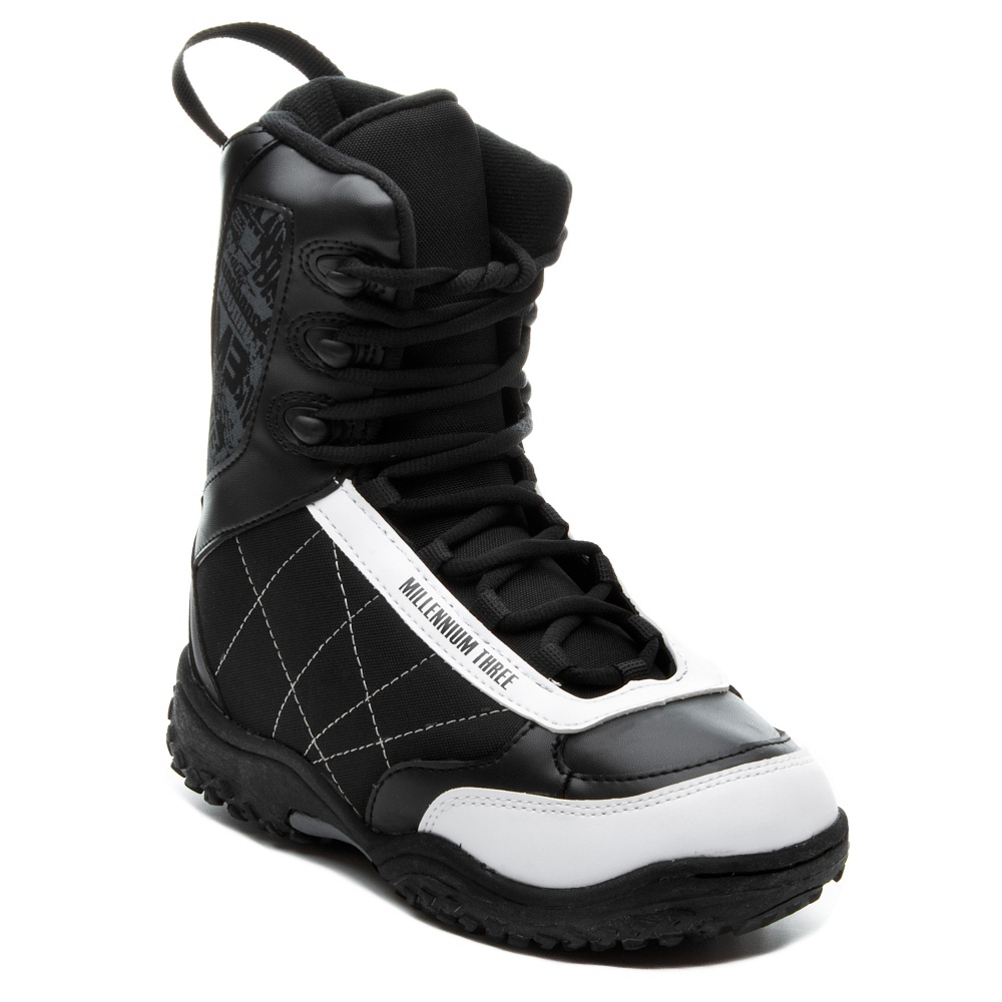 millenium 3 militia junior 11-12 kids snowboard boots- Save 58% Off - The Millennium 3 Junior Militia Snowboard boots will allow the next generation of snowboarders to storm the mountains and claim it as their own.  Featuring a removable Stitched Liner with the Soft Touch laces, this extremely soft flexing boot is absolutely a dream for beginning riders.  Their skills will take off as they confidently and comfortable go from just a beginner rider to a pro shredder with the Militia's forgiving flex, rubber outsole, and a soft and comfortable Thermoform EVA footbed and the durable polyurethane and Nylon upper shell construction.  1-piece Rubber outsole,  Thermoform EVA Footbed,  Material: Polyurethane and Nylon Upper with Stretched Liner, Lacing Style: Traditional Lace, Snowboard Best Use: All-Mountain, Removable Liner: Yes, Flex: Soft, Warranty: One Year, Intuition Liner: No, Brand Lacing Style: Soft Touch Laces, Skill Range: Beginner - Intermediate, Product ID: 298695, Gender: Kids, Skill Level: Beginner, Model Number: H06M310SBT30013, GTIN: 0884701561509