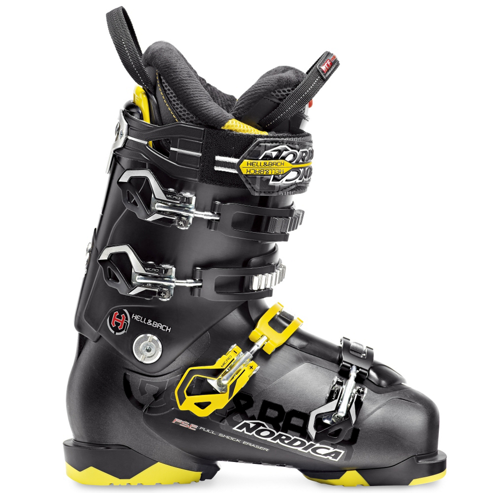 nordica hell & back h1 ski boots- Save 49% Off - The new Nordica Hell & Back H1 is a high energy boot for advanced to expert skiers who are looking for a lightweight boot to slay the slopes with.  The new TRIAX Shell is a material that is 20% lighter than traditional plastics, the stiffness is less affected by temperature changes, and is very easy for a skilled bootfitter to work with.  A new liner design has better wicking properties than any other Nordica Liner before to keep your feet more comfortable, and dryer.  The H1 uses Nordicas Full Shock Eraser Bootboard that has extra cushioning under your foot to absorb the impact of hard landings and skiing as fast as you can down any terrain possible.  A Watershield Overlap will prevent any water from leaking into the seams in the shell of the boot.  The flex of the H1 can be adjusted with the simple flip of a switch from 110-120 for additional power and rebound.  If you are an aggressive skier who wants a boot to be lightweight, easy riding, have some power to it, and have a narrow to medium fit in both the forefoot and shaft of the leg, the Nordica Hell & Back H1 will be a great boot for you.  Lightweight TRIAX Shell,  Full Shock Eraser,  Watershield Overlap,  Best Fits a Medium to Narrow Forefoot and Shaft of the Leg,  Skill Range: Expert - Pro, Model Year: 2014, Product ID: 315022, Model Number: 05006000001265, GTIN: 0885315621795, Calf Volume: Medium, Instep Height: Medium, Buckle Count: 4, Flex Adjustment: Yes, Ski/Walk: No, Used: No, Flex: Stiff, Warranty: One Year, Cuff Alignment: Dual, Actual Flex: 120-110, Ski Gear Intended Use: All Mountain, Category: Downhill, Forefoot Width: 100mm at Reference Size 26.5, Ski Boot Width: Medium (100-103mm)