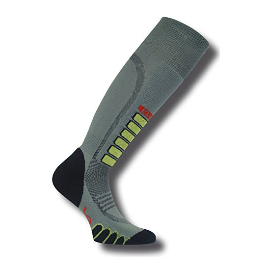 euro sock silver supreme ski socks- Save 23% Off - The light weight Silver Supreme Ski Socks from Euro Sock is the right compromise for the skier looking for slight cushioning against the rigidity of ski boots. Equipped with light-weight shin padding, this sock has the features to create comfort and protection. They give you the Ultimate skin like fit and feel and are ultra smooth which means no bunching. Elasticized arch and ankle support make the Silver Supreme a very comfortable pair of skates. The Ventilation Channel for superior moisture management for maximum comfort and warmth provided by Silver DryStat.  Elasticized Arch and Ankle Support,  Flat Toe Seam,  Ventilation Channel,  Warranty: Other, Material: Synthetic, Type: Ski, Weight: Light, Product ID: 344771, Model Number: 32113866S, GTIN: 0802433386641