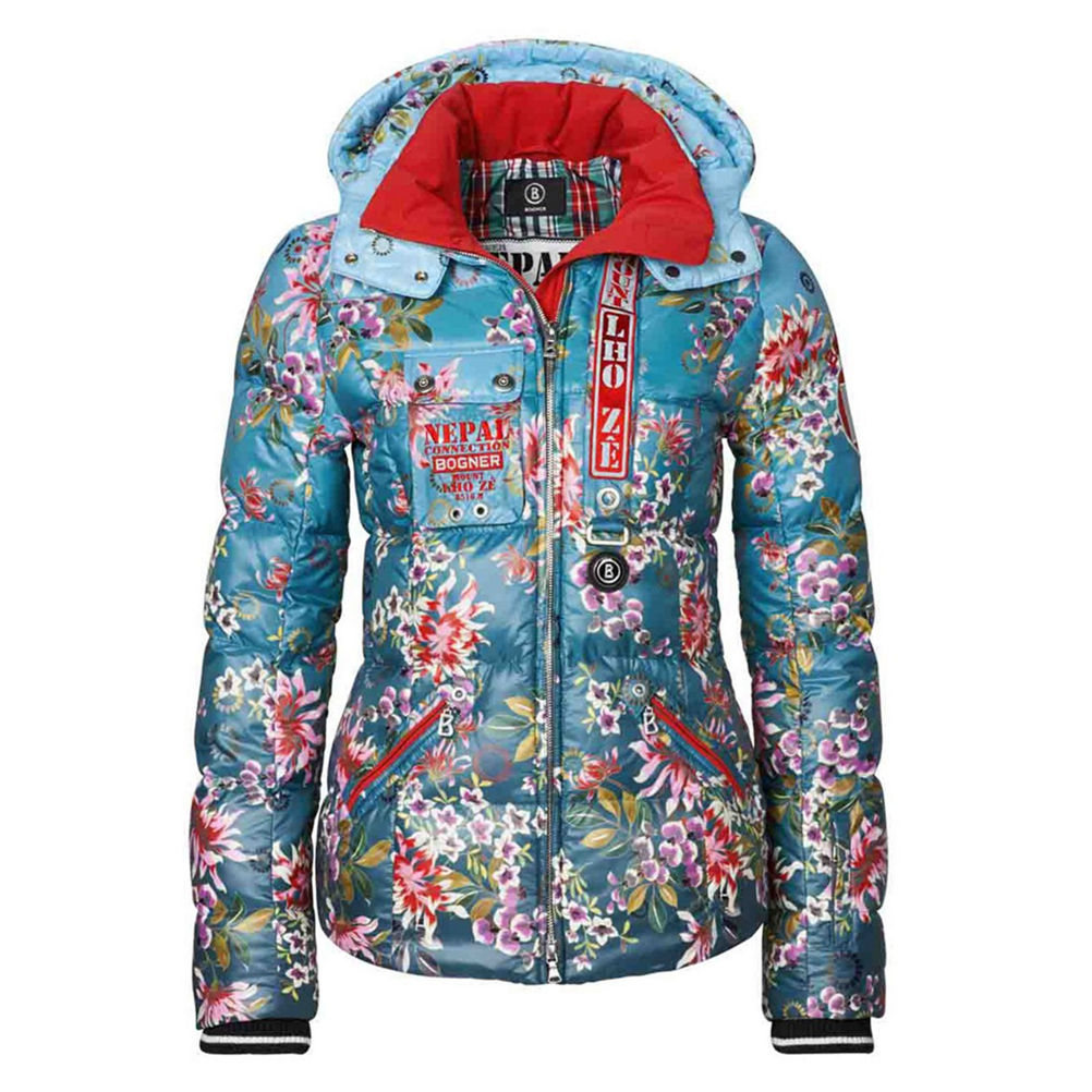 bogner kaja down womens insulated ski jacket- Save 65% Off - Combining a Blue Mixed Media of Fabric; denim printed, ripstop and wool, are the materials that create The Bogner Kaja Down Insulated Ski Jacket.  The Kaja Down Jacket is an exclusive and distinctive casual down jacket that transforms and up-grades your look to a higher form, as you take to the slopes in great warmth or kick back for a walk in the city, you will fit in with a look and vibe that is all about first-rate luxury with a trendy twist.  As you step out wearing The Kaja D Jacket, you refine your style in a modern and fresh approach to style and fashion.  Down,  Denim print,  Ripstop,  Wool,  Exterior Material: Mixed media of fabrics, Insulation Weight: 600g, Taped Seams: Critically Taped, Waterproof Rating: 10,000mm, Breathability Rating: 10,000g, Hood Type: Fixed, Pit Zip Venting: No, Battery Heated: No, Race: No, Type: Insulated, Jacket Fit: Slim, Length: Hip, Insulation Type: Down, Waterproof: Mild Waterproofing (5,001 - 10,000mm), Breathability: Mild Breathability (5,001 - 10,000g), Model Year: 2015, Product ID: 349392, Model Number: 3160 4248 302 6, GTIN: 4054352385694, How Does This Fit?: Slightly Small, Warmth Factor: Warmer, Cinch Cord Bottom: No, Waterproof Zippers: No, Warranty: Lifetime, Powder Skirt: No