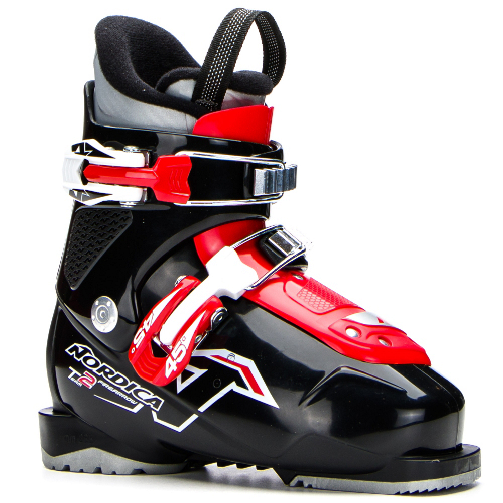 nordica team 2 kids ski boots 2018- Save 26% Off - Nordica's Team 2 will make your little skier very happy.  A Comfort Fit Jr Liner is made just for smaller feet, and it has plenty of padding to keep small feet in the right place in his boot, and insulation that will prevent him from getting cold on the mountain.  Nordica's Easy Entry Tongue opens from the toe, so your little guy will have an easy time learning on how to put on and take off his own ski boots.  The Team 2 has a Jr Cuff Profile that is designed to be shorter to give smaller skiers as much comfort in the leg and cuff of the boot as possible.  A Progressive flex is soft and easy to bend so smaller skiers will have a full of a range of motion as they can get, so he will have as much control over their skis as possible.  If you want a boot for your little skier to be comfortable and learn to perform in, the Nordica Team 2 will be a great boot.  Jr Cuff Profile,  Easy Entry Tongue,  Comfort Fit Jr Liner,  GTIN: 0885315880178, Model Number: 05082900 741 175, Product ID: 352726, Model Year: 2018, Skill Range: Beginner - Intermediate, Calf Volume: Medium, Instep Height: High, Ski Gear Intended Use: All Mountain, Category: Downhill, Buckle Count: 2, Flex Adjustment: No, Forefoot Width: Junior Last, Ski/Walk: No, Used: No, Flex: Very Soft, Ski Boot Width: Junior, Warranty: One Year, Cuff Alignment: None, Actual Flex: 35