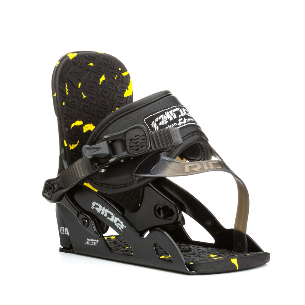 ride micro kids snowboard bindings- Save 44% Off - The Ride Micro Snowboard Bindings are great for the young rider looking to hone their craft and pick up a few new tricks along the way.  The Aluminum Micro Chassis System with an Adjustable Heelcup was made durable so it will last until you're ready to upgrade.  The Micro Highback offers forgiving flex and comfort and the Wedgie Footbed was designed to align the ankles and knees so that they can have maximum performance with minimal fatigue.  With TriggerLite Ratchets, your child can easily crank into these bindings.  The Ride Micro Snowboard Bindings will help make snowboarding easier and more fun giving your child the opportunity to learn and grow in the awesome winter sport.  Aluminum Micro Chassis System with Adjustable Heelcup,  Wedgie Footbed,  EVA Basepad,  GTIN: 0886745151012, Model Number: R1304015011, Skill Level: Intermediate, Gender: Kids, Shipping Restriction: This item is not available for shipment outside of the United States., Product ID: 359038, Model Year: 2015, Skill Range: Intermediate - Advanced, Snowboard Binding Padding: Basic, Binding Compatibility: Standard 4 Hole, Chassis Material: Aluminum, Canted Footbed: Yes, Quick Entry: No, Warranty: One Year, Toe Strap Style: Convertible, Buckles: TriggerLite Ratchet, HighBack: Micro Highback, Flex: Very Soft, Strap Material: Base-Line V Strap System, Snowboard Best Use: All-Mountain