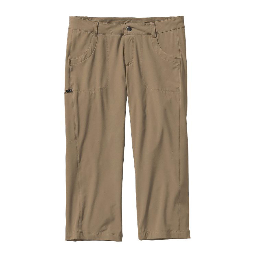 patagonia happy hike capris womens pants- Save 54% Off - The Patagonia  Happy Hike Capris are lightweight polyester/spandex capris with 4-way stretch, giving you non-restricted mobility.  Hike and explore in great comfort, The Happy Hike Capris have a hidden drawstring at the waist, allowing you to adjust for a perfect fit.   These capris are ideal to wear on the open trail and in the woods, with a bit more leg coverage they provide nice protection, along with the lightweight comfort they are fine tuned for a warm day.  These Happy Hike Capris will make you happy!  Lots of pockets - make for easy carry of essentials.  Lightweight, abrasion-resistant,  Clean low-profile waistband has a hidden drawcord,  Snap closure and zippered fly,  Straight leg,  Zippered stash pocket on right thigh,  Front drop-in pockets,  Two back drop-in pockets with envelope-style closure,  22 inch inseam - size 8,  Model Year: 2015, Product ID: 380901, Model Number: 21235 ASHT 6, GTIN: 0887187996490, Sun Protection: , Recommended Use: Hiking/Camping, Casual Pant Fit: Regular, Water Resistant: No, Material: Synthetic, Waist: Beltloops, Warranty: Lifetime, Low Rise: No, Cargo Pockets: Yes, Articulated Knee: No, Material: 88% polyester/12% spandex with 4-way stretch