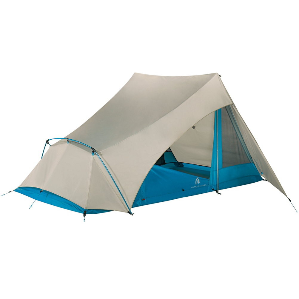 sierra designs flashlight 2 tent- Save 25% Off - When your out backpacking there are two words that will make your life easier, Comfort and Lightweight.  That is exactly what you get when you have the Sierra Design Flashlight 2 Tent.  Proudly non-freestanding, the Flashlight 2 features 8in awning coverage instead of vestibules.  The reason for this  is when it starts to rain, with other tents you have to fully enclose your tent, reducing ventilation.  With the Flashlight 2 the awning provides coverage from the elements and increase ventilation.  The Flashlight 2 is Trekking Pole compatible, meaning if you want to save 6oz of weight (Which You Do) you can replace the vertical poles with your very own Trekking Poles. No need to worry about setting up your rain fly, the Flashlight 2 Body Material is already integrated with your rain fly, creating a ease of mind.  The Flashlight 2 by Sierra Design takes Backpacking to a whole new level of experience.  Trekking Pole Compatible-Save a valuable 6 oz. by using your trekking poles and leave the 46in vertical poles behind, making this the largest and most livable tent in its weight class,  Hybrid Double/Single Wall-Reduces weight and provides quick, dry set up, even in the rain,  Large Drop Doors-Non-confining, open, airy feel. Easy entry and exit,  8in Awning Coverage-Provides dry entry and exit. Delivers sun protection and allows for door/window to remain open during a storm,  Defined Footprint With Only 6 Stake Outs-Easiest set up of any tarp tent ever made. Eliminates restaking associated with most tarp tents and trekking pole shelters,  Gear Closet-Gear storage where it should be away from the door. Whether toggled closed or left open for additional venting, gear stays dry in a rainstorm. Plus, each occupant gets zip-accessible individual gear storage,  Individual Doors for Each Occupant-Easy entry and exit for maximum livability. Allows unprecedented cross ventilation for superior condensation management,  GTIN: 0054003745062, Model Number: 40151414, Product ID: 382646, Model Year: 2015, Peak Height: 46 in, Footprint Included: Yes, Gear Loft Included: No, Netting Material: 20D Nylon no-see-um mesh, Fly Material: 75D Polyester Taffeta, Floor Material: 70D Nylon Taffeta, Pole Material: DAC Aluminum Pressfit, Number of Poles: 3 Poles, Number of Vestibules: 2 Vestibules, Packed Size: 6x14.5 in, Weight (lbs): 3.00 to 4.49, Packaged Weight: 4lbs 3 oz, Min Weight: 3 lbs  6 oz, Vestibule Area (Sq. Ft): 3.3 + 3.3 square feet, Floor Area (Sq. Ft): 30 square feet, Number of Doors: 2 Doors, Capacity: 2 Person, Season: 3 Season, Type: Backpacking