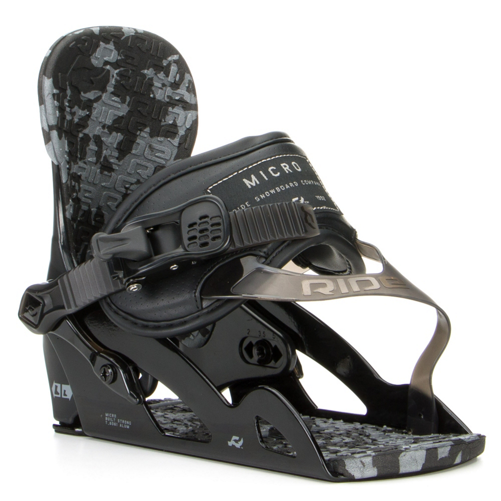 ride micro kids snowboard bindings- Save 30% Off - The Ride Micro Snowboard Bindings are great for the young rider looking to hone their craft and pick up a few new tricks along the way. The Aluminum Micro Chassis System with an Adjustable Heelcup was made durable so it will last until you're ready to upgrade. The Micro Highback offers forgiving flex and comfort and the Wedgie Footbed was designed to align the ankles and knees so that they can have maximum performance with minimal fatigue. With TriggerLite Ratchets, your child can easily crank into these bindings. The Ride Micro Snowboard Bindings will help make snowboarding easier and more fun giving your child the opportunity to learn and grow in the awesome winter sport.  Aluminum Edge Chassis System with Adjustable Heelcup,  Wedgie Footbed,  Baseline-V Ankle Strap,  EVA Basepad,  Forged Aluminum Micro-Disc,  Snowboard Best Use: All-Mountain, Strap Material: ThinGrip Plus Toe Strap, Flex: Very Soft, HighBack: FlexLite Jr Highback, Buckles: AstroGlyde CP Ratchets, Toe Strap Style: Convertible, Warranty: One Year, Quick Entry: No, Canted Footbed: Yes, Chassis Material: Aluminum, Binding Compatibility: Standard 4 Hole, Snowboard Binding Padding: Basic, Skill Range: Intermediate - Advanced, Model Year: 2017, Product ID: 387141, Shipping Restriction: This item is not available for shipment outside of the United States., Gender: Kids, Skill Level: Intermediate, Model Number: R1504015011, GTIN: 0886745418238