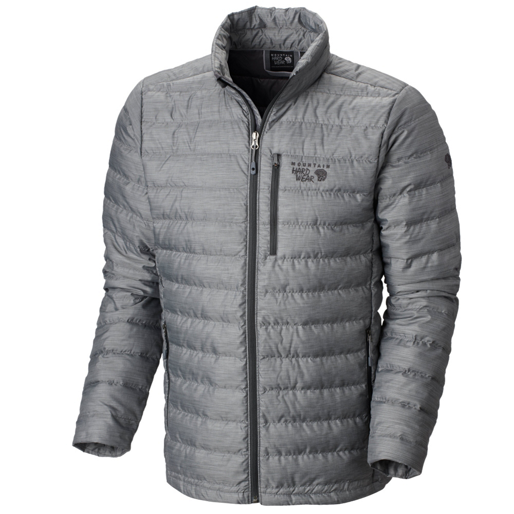 mountain hardwear debark down mens jacket- Save 50% Off - The Mountain Hardwear Debark Down Mens Jacket is a warm, cozy jacket that features a very stylish look.  Insulated by Q.Shield which are down fibers infused with a permanent water repellency which helps maintain insulation even when exposed to moisture. Internal elastic cuff seals in warmth and blocks out wind when exposed to outside temperature. Two zippered hand pockets to keep your digits warm while the zippered chest pocket keeps all of your other valuables close to you. The Debark Jacket is so compressible that it stows away in its own pocket for easy packing. The Mountain Hardwear Mens Debark Down Jacket is the perfect jacket for any situation in any temperature.  Q.Shield DOWN resists heat-robbing moisture and retains maximum loft even when wet,  Two zippered pockets keep hands warm and valuables secure,  Single zippered chest pocket securely holds keys, ID, and other valuables,  Pockets feature stitch-through construction for a slim, fitted look,  Internal elastic cuff seals in warmth, blocks out wind,  How Does This Fit?: True To Size, Model Year: 2015, Product ID: 387210, Model Number: 1550451011 M, GTIN: 0887487443205, Warmth Factor: Warmer, Wind Protection: No, Breathability: Not Specified, Waterproof: None, Insulation Type: Down, Length: Medium, Jacket Fit: Regular, Type: Casual, Warranty: One Year, Taped Seams: None, Insulation Weight: 650 fill, Exterior Material: 50D Ripstop Melange