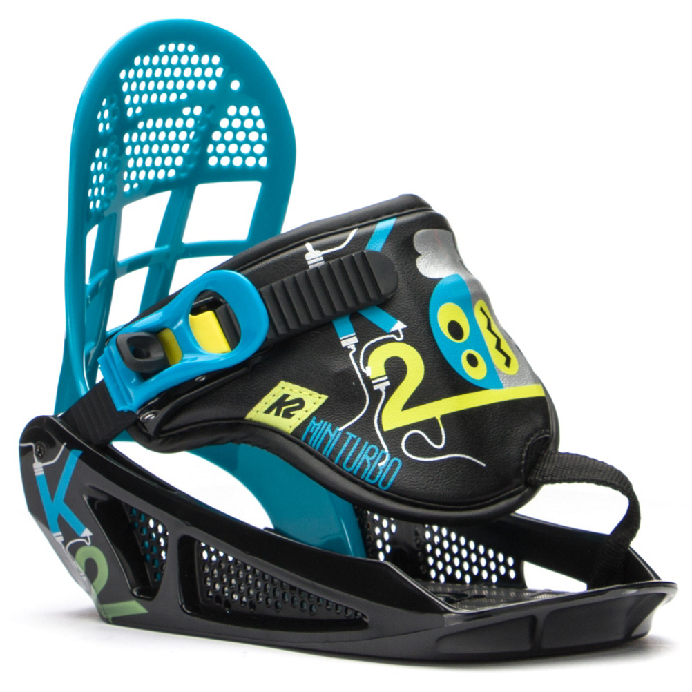 k2 mini turbo kids snowboard bindings- Save 38% Off - The K2 Mini Turbo is a perfect binding for your little grom. The single strap is easy to buckle and unbuckle with EZ Feed Ratchets. Grom highback provide easy energy transfer when making turns. As junior's foot grows the highback can be adjusted to three different sizes.  Make life easy on your little one with the K2 Mini Turbo binding.  Hella RADchet,  Snowboard Best Use: All-Mountain Freestyle, Strap Material: Single Strap, Flex: Soft, HighBack: Grom, Buckles: Hella RADchet, Toe Strap Style: None, Warranty: One Year, Quick Entry: No, Canted Footbed: No, Chassis Material: Composite, Binding Compatibility: Standard 4 Hole, Snowboard Binding Padding: Basic, Skill Range: Beginner - Advanced Intermediate, Model Year: 2017, Product ID: 389314, Shipping Restriction: This item is not available for shipment outside of the United States., Gender: Kids, Skill Level: Beginner, Model Number: B1504018012, GTIN: 0886745417293