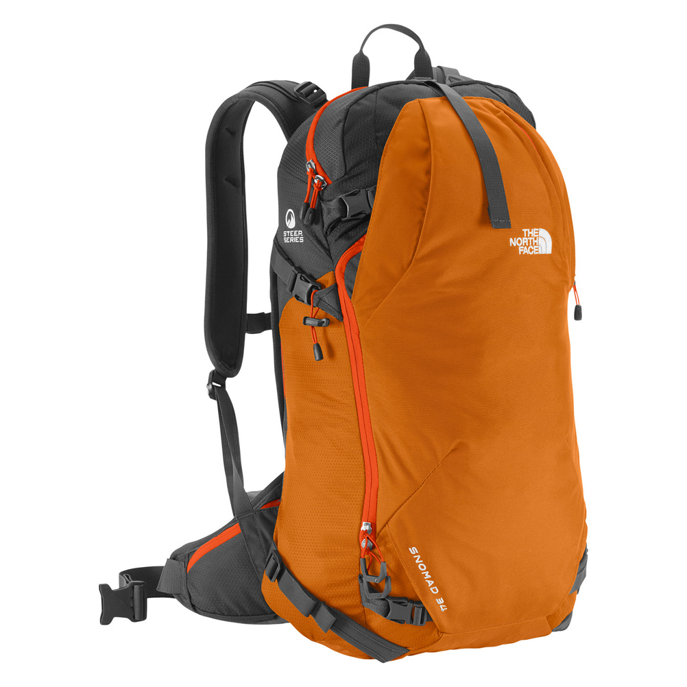 the north face snomad 34 backpack- Save 37% Off - Designed to give you all the space you need for a day on the slopes The North Face Snomad 34 Backpack is the way to go.  Crafted from durable polyester, this pack can handle the harsh winter weather. There's a simple, but stable ski and snowboard carrying system that won't weigh you down while you're trekking up the hills. A slim profile makes this pack lightweight and allows for freedom of movement while padded straps provide extra cushioning and comfort. With a 34 liter capacity, you'll have room for extra baselayers, maps and snacks. A padded, tricot lined goggle/electronics pocket is easy to access on the fly. There's even a quick stow on the shoulder strap for a hat or gloves. A Whistleloc buckle on the sternum strap and Avy tool organizational sleeves hold emergency gear should you need them. The North Face Snomad 34 lets you carry your gear in comfort so you can spend more time enjoying your adventure.  Spring Steel Frame,  Dedicated Avy Tools Pocket,  Integrated Helmet Holder,  Reinforced High Abrasion Areas,  Warranty: Lifetime, Goggle/Sunglasses Pocket: Yes, Ski/Snowboard Carry: Ski and Snowboard, Waist Strap: Yes, Hydration Compatible: No, Use: Snow, Material: 420D Nylon with Dobby Pattern, Weight of Bag: 2.9 lbs, Exterior Pockets: No, Padded Inside: None, ID Tag: No, Gear Volume: 34L, Laptop Sleeve: No, Model Year: 2017, Product ID: 401991, Shipping Restriction: This item is not available for shipment outside of the United States., Model Number: NF00CLH6DJF - S/M, GTIN: 0053329514161