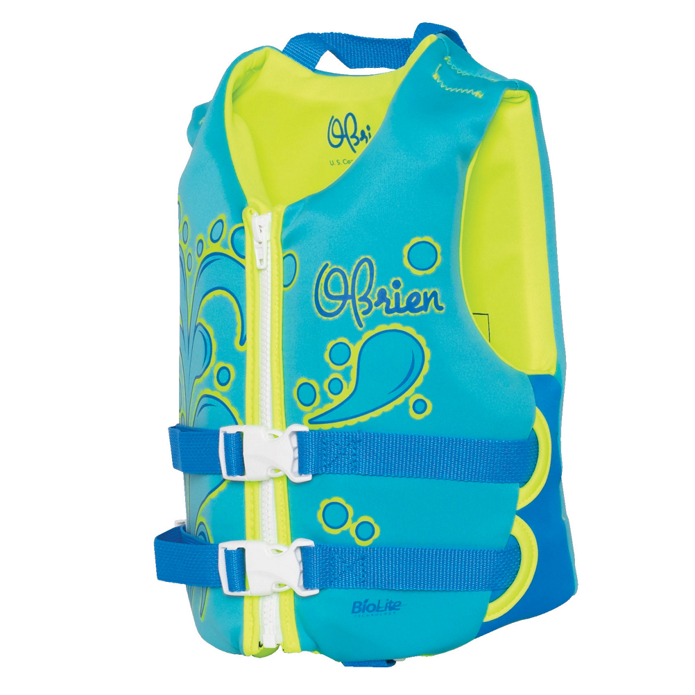 The O'Brien Aqua Child Nylon Life Vest is perfect for your young ones when you want them to have all the support and protection possible. This life jacket features BioLite construction for a secure and comfortable fit. With its two buckle design and zip your child will have a nice and secure fit that's also comfortable. The soft and flexible foam core allows them to be free to move whether they're swimming around the sand bar or paddling back for another round on the towable tube. For comfort, support and protection, make sure your child is outfitted with the O'Brien Aqua Child Nylon Life Vest.***Please be sure to check your states Life Jacket State Requirements***  BioLite outer for Comfortable Fit,  Breathable Material,  More Resistant to Mold and Mildew,  Wide Armhole for Comfort,  Closure: 2 Buckle & Zip, User Weight: 30-50 lbs., Material: Nylon, Coast Guard Approved?: Yes, Kidsafe?: Yes, Coast Guard Approval Type: I, Model Year: 2019, Product ID: 420805, Also Known As: Life jacke