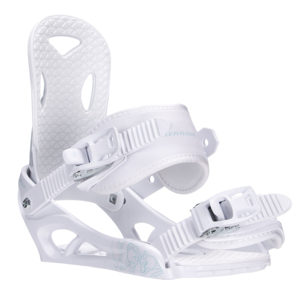 millenium 3 solstice womens snowboard bindings- Save 38% Off - The women's Solstice bindings from M3 are the perfect choice for the ladies transitioning out of rental gear and into their first set up. Lightweight design with comfort in mind, the Solstice has 4 Speed adjustment ratchets for quick and easy exit and entry. The asymmetrical highback with tool-less forward lean adjustment allows you to adjust your lean depending on the steepness of the terrain. But for someone still getting the hang of it, this binding has just the right amount of comfort and response to help you hone in your skills and progress in the sport.  3 Piece Construction (?) Chassis with Fixed Heel Cup,  Asymmetrical Highback with Tool-Less Forward Lean Adjustment,  4 Speed Adjustment Ratchet,  Adjustable Toe Ramp,  Snowboard Best Use: All-Mountain Freestyle, Strap Material: Perforated Leather, 3D Textile, Flex: Medium, HighBack: Asymmetrical Injected, Tool-Less Forward Lean Adjustment, Buckles: Plastic, Toe Strap Style: Traditional, Warranty: One Year, Quick Entry: No, Canted Footbed: No, Chassis Material: Plastic, Binding Compatibility: Standard 4 Hole, Snowboard Binding Padding: Basic, Skill Range: Beginner - Advanced Intermediate, Product ID: 422378, Gender: Womens, Skill Level: Beginner, Model Number: SOLSTICE 99 M, GTIN: 0883701295537