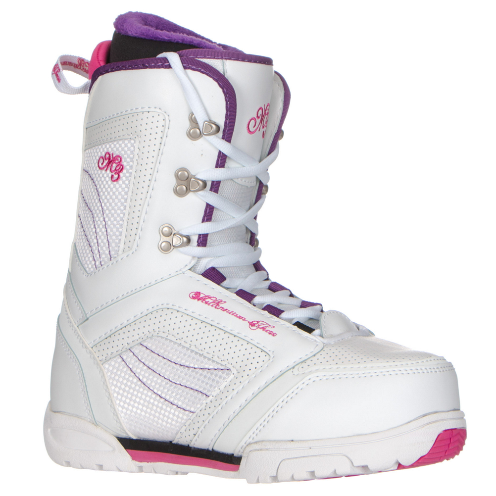 millenium 3 cosmo womens snowboard boots- Save 58% Off - A Cosmo snowboard boot from M3 is an ideal choice for the ladies who are ready to step out of rental gear and into their very own boots. Designed with comfort in mind, they feature a traditional lacing style with an EZ Speed liner lacing system that locks the liner securely around your foot and holds your heel in place. The warm and cozy liner also has a plush cuff and neoprene flex panel for added all day riding comfort. The metal lacing eyelets lock laces in place so you spend less time adjusting your boots and more time practicing those skills. Throw in a medium flex for great energy transfer and an EVA outsole for traction and the M3 Cosmo boot has everything you need for endless days of shredding.  Traditional Freestyle Lacing System with EZ Speed Lacing Liner,  Plush Cuff Liner,  EVA Outsole with Cut and Buff Rubber,  Metal Lacing Eyelets,  Re-Enforced Stitching,  Neoprene Flex Panel,  GTIN: 0883701294844, Model Number: COSMO 99 6, Skill Level: Intermediate, Gender: Womens, Product ID: 422381, Skill Range: Intermediate - Advanced, Snowboard Boot Fit: Comfort, Brand Lacing Style: Traditional Freestyle Lacing System with EZ Speed Lacing Liner, Intuition Liner: No, Warranty: One Year, Flex: Medium, Removable Liner: Yes, Snowboard Best Use: All-Mountain, Lacing Style: Traditional Lace