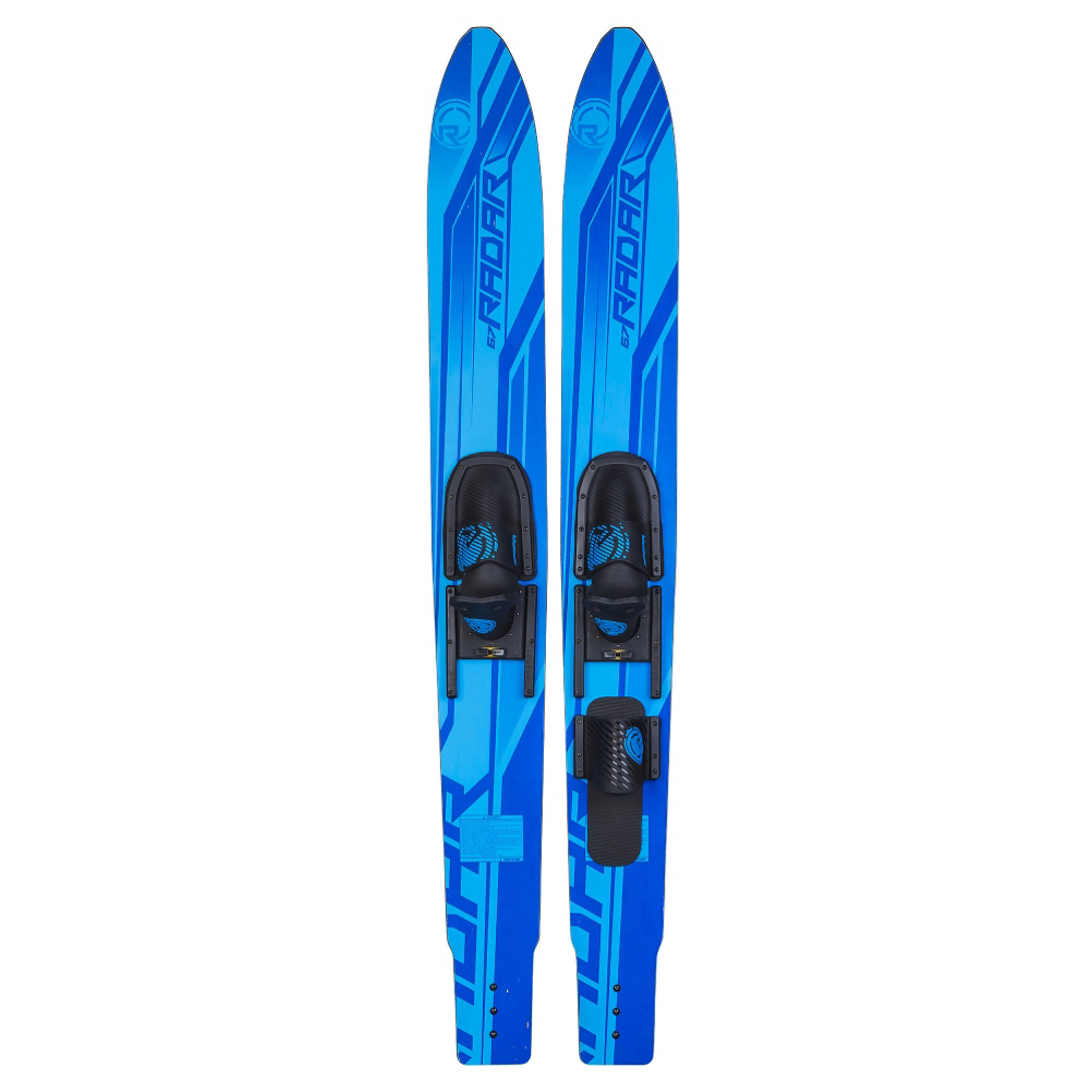 radar skis x-caliber combo water skis with adjustable horseshoe bindings- Save 6.% Off - The Radar Skis X-Caliber Combo Water Skis are a very versatile set of skis that is perfect to have on the boat when you have lots of visitors coming up all summer long. You'll have an ideal amount of surface area to help make starting in the water easier and making gliding more simple once up. You'll be able to cross the wake without much fuss and the wing tail design will also provide stability and edge hold making those carves a little easier to manage. Whether just starting out or looking for a versatile ski for a variety of skill levels, the Radar Skis X-Caliber Combo Water Skis are a great option.  Streamlined Sidecut for Holding Power,  Twin Rails Increase Tracking Ability,  Stable Combo Skis,  Binding Size: 7-11,  What Binding is Included?: Adjustable Horseshoe, Slalom Boot?: No, Ski Width: Traditional, Fin: Plastic, Boot: Slide, Skill Range: Beginner - Advanced Intermediate, Model Year: 2016, Product ID: 425800, Model Number: 160203, GTIN: 0842903073930