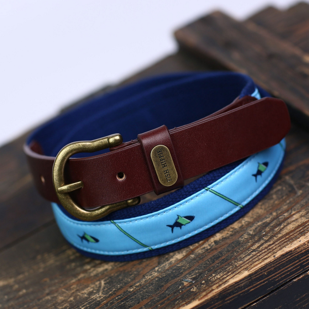 fish hippie tarpon club ribbon belt- Save 49% Off - The Fish Hippie Tarpon Club Ribbon Belt is just the accessory to take that dressy attire down a notch while still looking fly. It boasts custom FH tarpon logo stitching and is finished with 100% real leather and an antique brass buckle with matching Fish Hippie rivet.  Fish Hippie (FH) Custom Woven Damask,  Custom Tarpon Logo Stitched to Sturdy yet Flexible Woven Canvas Webbing,  100% Real Leather,  Antiqued Brass Buckle with Matching Fish Hippie Rivet,  GTIN: 0813731026634, Model Number: FH-BR-2-32, Product ID: 432233, Model Year: 2016