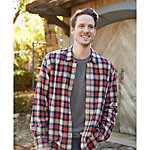 Purnell Navy Orange Plaid Flannel Mens Shirt