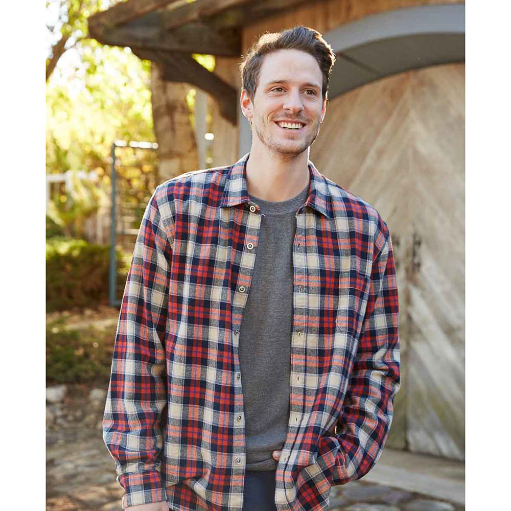 Purnell Navy Orange Plaid Flannel Flannel Shirt