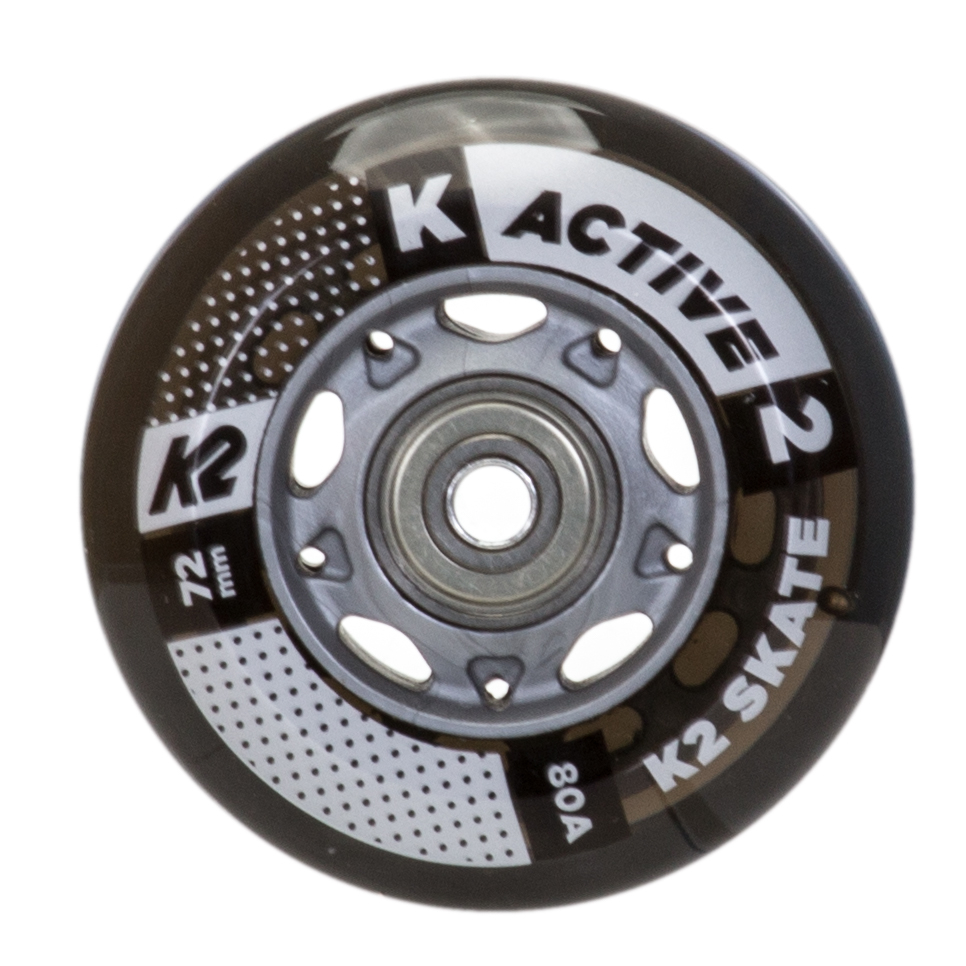 K2 72mm w/ ILQ 5 Alum Spacer Inline Skate Wheels with ILQ 5 Bearings - 8 Pack 2019