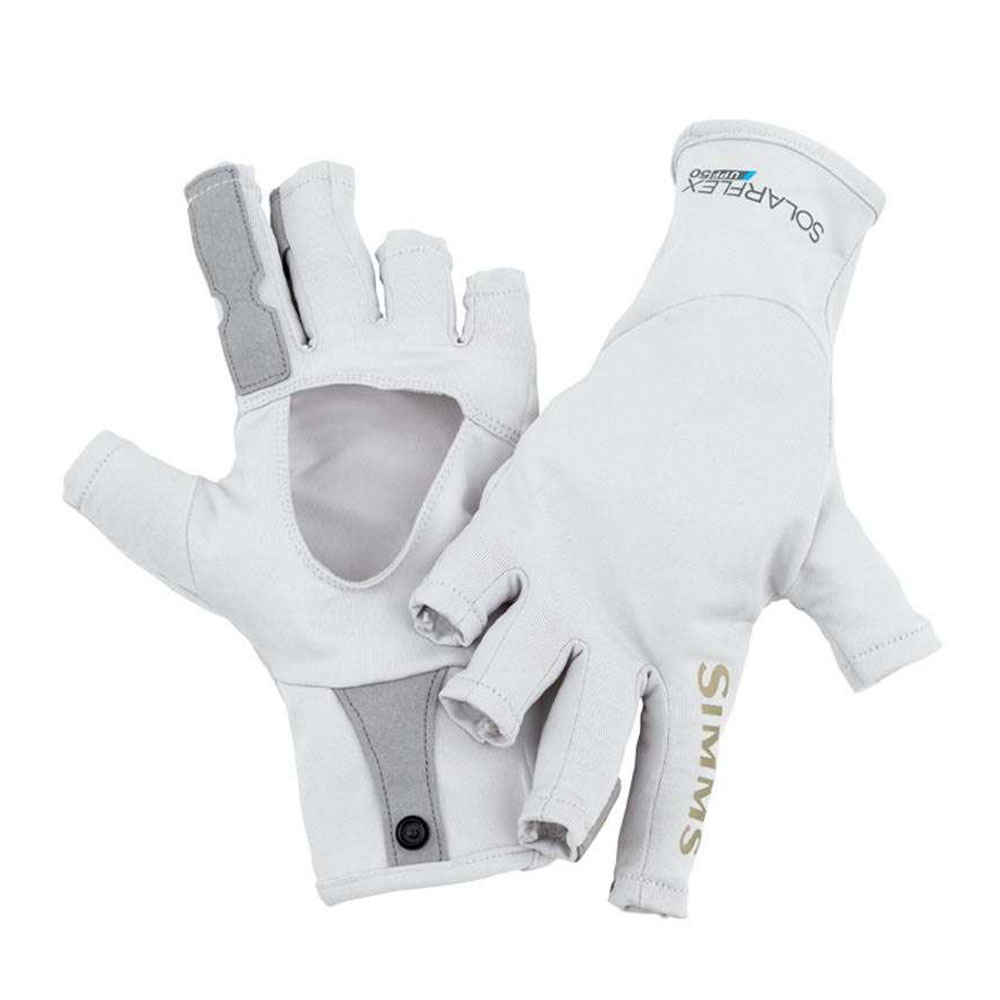 simms solarflex sunglove paddling gloves 2017- Save 33% Off - Protect your hands from the scorching sun with the SolarFlex SunGloves from Simms. Lightweight stretch fabric with UPF 50 shields out harmful UV rays without restricting movement. The nimble half-finger design is equipped with extended coverage on the index and middle fingers for stripping durability, and grip palms so you never drop your rod. Extended cuffs shelter wrists and come with pairing snaps for easy storage.  Lightweight, Quick-Dry, Breathable,  Half-Finger Style with Extended Coverage on Index/Middle for Stripping Durability,  Long Length Covers Wrists with Pairing Snaps for Storage,  UPF 50,  SOLARFLEX Stretch Fabric,  Model Year: 2017, Product ID: 467257, Christmas Delivery: This is a Special Order item and is not guaranteed for Christmas delivery., Shipping Exclusion: This item is only available for shipment by UPS to the lower 48 United States. APO, FPO, PO BOX, Hawaii, and Alaska shipments may not be possible for this item. (Please call prior to purchase.), Special Order: This is a Special Order item, will be shipped from the manufacturer, and is not stocked in our warehouse. This item does not qualify for our Price Matching Policy. Order processing time may vary., Model Number: 10489-020-20, GTIN: 0694264255889