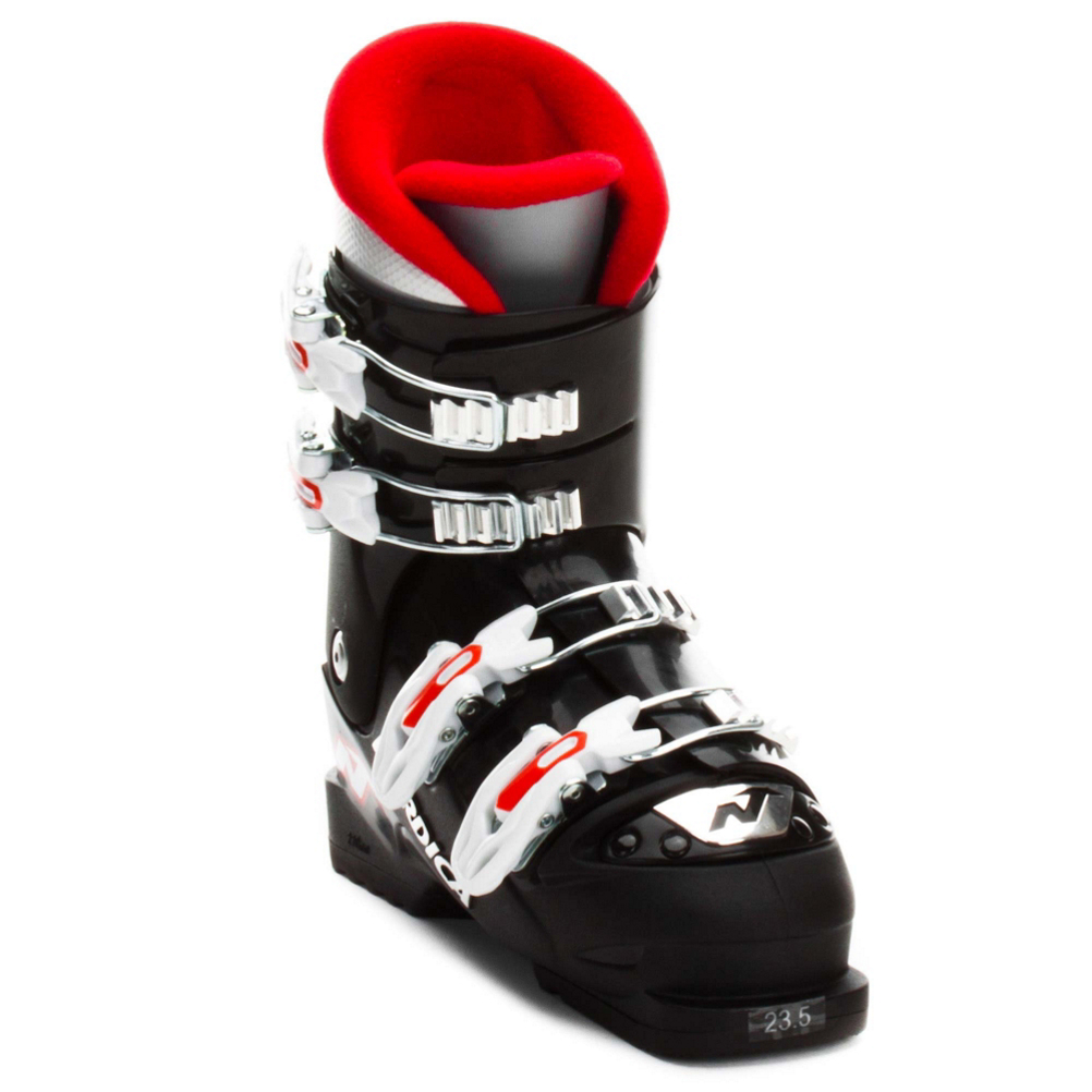 nordica gp tj kids ski boots- Save 56% Off - The Nordica GP TJ is a perfect four buckle boot for your junior skier. A medium fit in both the cuff and the forefoot make this boot great for almost every kid except for those with wider feet. The 40 or 45 (depends on the size, larger than size 23 is 45) flex rating is a good mix of performance and comfort, not too spongy, not too stiff, so your little guy will be out until last chair, long after you have wanted to go in. The velvet liner adds some cushion and warmth. Your junior skier will be improving in no time with the GP TJ from Nordica.  A Great Mix of Preformance and Comfort,  Medium Width in Both the Cuff and Forefoot,  Actual Flex: 40(19.5-22.5) 45 (23-26.5), Cuff Alignment: None, Warranty: One Year, Gender: Kids, Ski Boot Width: Junior, Flex: Soft, Race: No, Used: No, Ski/Walk: No, Freestyle: No, Sidecountry: No, Forefoot Width: Junior Last, Flex Adjustment: No, Buckle Count: 4, Category: Downhill, Ski Gear Intended Use: All Mountain, Skill Range: Intermediate - Advanced, Model Year: 2015, Product ID: 479035, Model Number: 05081000 N44 220, GTIN: 0888341118314
