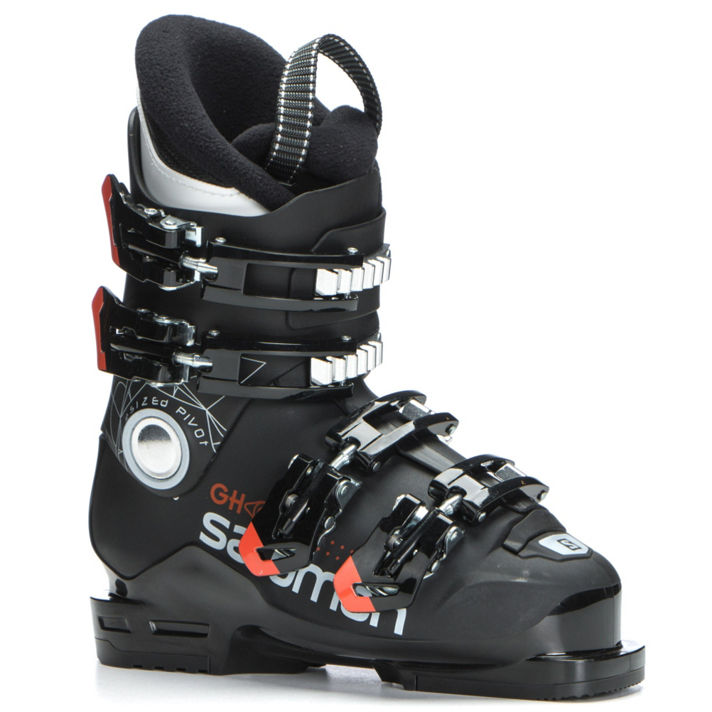 Salomon Ghost 60T Kids Ski Boots 2018: Save 30% Off - The Salomon Ghost 60T is an excellent option for strong little skiers who need a ski boot that is stronger than the typical junior package ski boot.  An 18mm Oversized Pivot drives energy right to the edges of their skis for more responsiveness.  Salomon's ThinShell Construction uses a thinner plastic to keep the flex and energy transfer of the Ghost 60 manageable for lighter skiers to be able to bend and flex the boot with confidence and control.  A Junior Specific Cuff sits lower on the leg that provides shorter, skiers with a greater range of motion for less fatigue as they follow you down the mountain.  18mm Oversized Pivot,  ThermicFit Liner,  Thinshell Construction,  Junior Specific Cuff,  25mm Velcro Strap (Size 22 and Above),  Actual Flex: 60, Cuff Alignment: None, Warranty: One Year, Ski Boot Width: Junior, Flex: Medium, Used: No, Ski/Walk: No, Forefoot Width: Junior Last, Flex Adjustment: No, Buckle Count: 4, Category: Downhill, Ski Gear Intended Use: All Mountain, Instep Height: Medium, Calf Volume: Medium, Skill Range: Intermediate - Advanced, Model Year: 2018, Product ID: 493376, Model Number: L39937500190, GTIN: 0889645328782