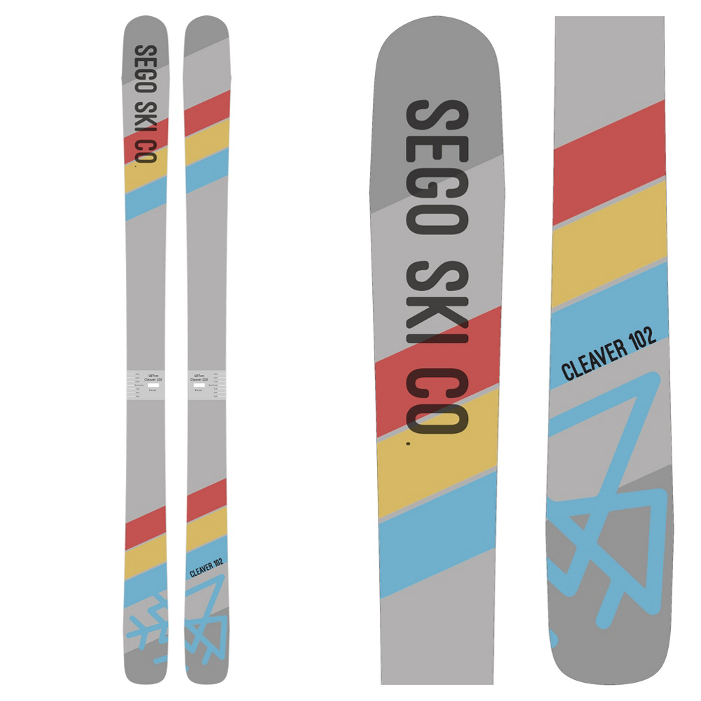 The Sego Cleaver 102 is a ripping ski for aggressive skiers looking to charge down the mountain.  Sego uses a Poplar Wood Core and Triaxial Fiberglass Laminate to maintain a lively feeling and energy to a burly run that you are pointing them down.  Titanal Stringers that run the full length of the Cleaver 102 drive extra power and stability when you are really getting after it.  VDS Rubber dampens out vibrations caused from high speed, crunchy snow conditions or sending it off of something huge.  Sego's Directional Moustache Rocker keeps you floating, while the firm camber and flat tail grip and rip the snow in any condition.  A 1.4mm thick base and Oversized Edges reduce the chances of core shots and edge damage from rocks.  If you want an impressively stable ski that is built for burly skiers, cut down the mountain with the Sego Cleaver 102.  Titanal Stringers,  Poplar Wood Core,  1.4mm Base,  VDS Rubber,  Triaxial Fiberglass,  Oversized Edges,  Recommended Bindings: Tyrolia Attack2
