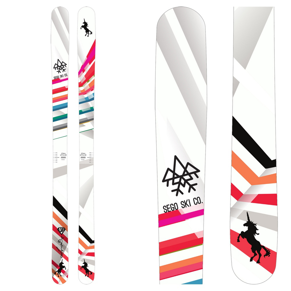 Give it up for the Sego Up Pro 92.  This progressive ski is quickly becoming a favorite for ladies looking for a single ski that can rip up the groomers, pound through the bumps, spin a quick park lap, zip through the trees and dive into some powder.  Sego's Directional Moustache Rocker has a generous amount of rocker in the tip, low camber underfoot and some rocker in the tail.  Moustache Rocker keeps you floating, engages into turns quickly and even adds a playful touch in the park.  A Poplar Wood Core and Triaxial Fiberglass Laminates add power and stability without adding any extra weight to the ski.  VDS Rubber dampens out vibrations when you are cranking down the mountain or stomping a big landing.  If you want a progressive ski that has a touch of freestyle and a touch of hard charging ability, the Sego Up Pro 92 is the perfect ski for you.  Directional Moustache Rocker,  Poplar Wood Core,  1.4mm Base,  VDS Rubber,  Triaxial Fiberglass,  Oversized Edges,  Recommended Bindings: