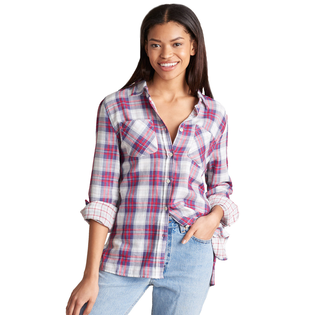 United By Blue Stargrass Relaxed Plaid Button Down Womens Shirt