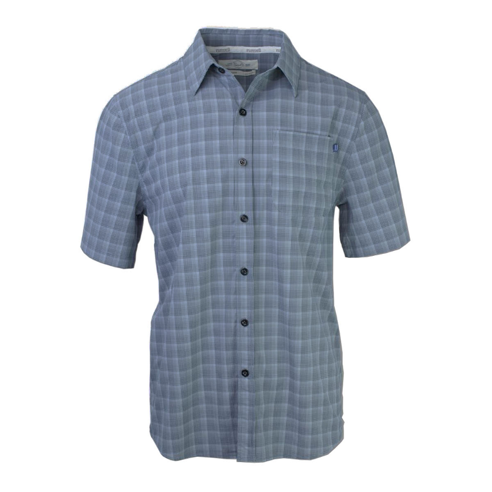 Purnell 4-Way Stretch Quick Dry Grey Plaid Mens Shirt