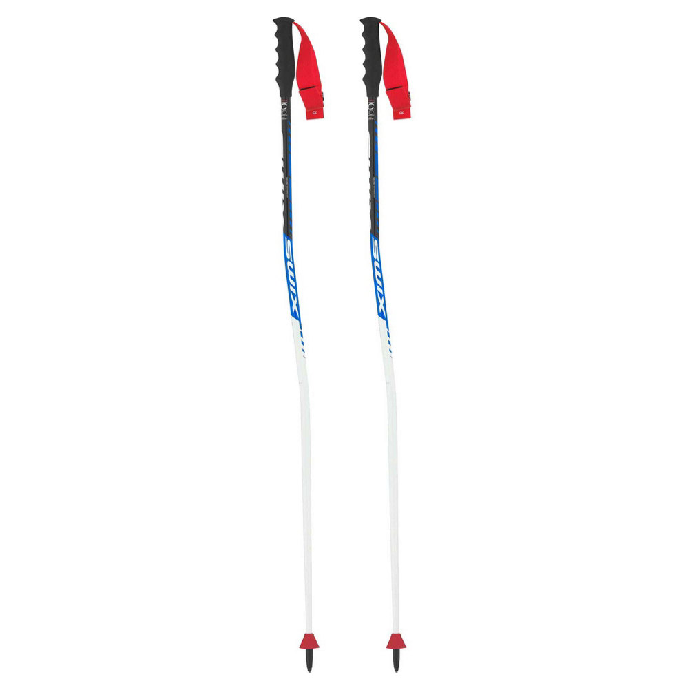 Get a top of the line racing pole with the Swix WC Pro SG Poles.  These poles are made with a 7075 grade aluminum with a DD4 handle that features the patented Swix ADD Tab system with an alpine racing basket.  The Swix WC Pro SG race pole comes with a Super G bend and Downhill racing handle and baskets.  7075 Aluminum,  Super G Bend,  Downhill Racing Handle and Basket,  DD4 Grip with Large Add Tab,  Carbide Tipped Ferrule,  Warranty: One Year, Basket Type: Both, Shaft Material: Aluminum, Ski Gear Intended Use: Race, Model Year: 2018, Product ID: 515168, Model Number: FA124-00-1250