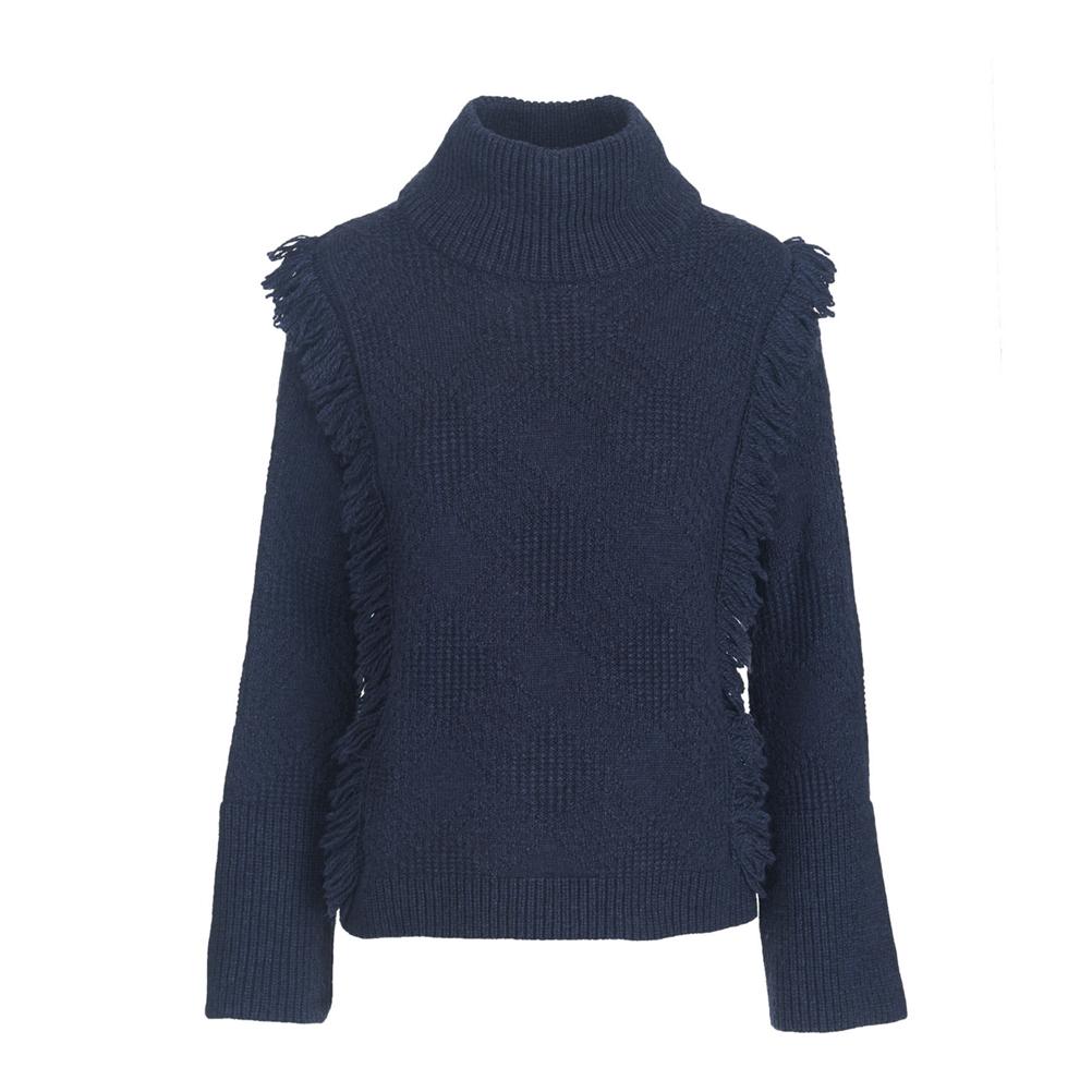 Woolrich Cardinal Peak Fringe Turtleneck Womens Sweater