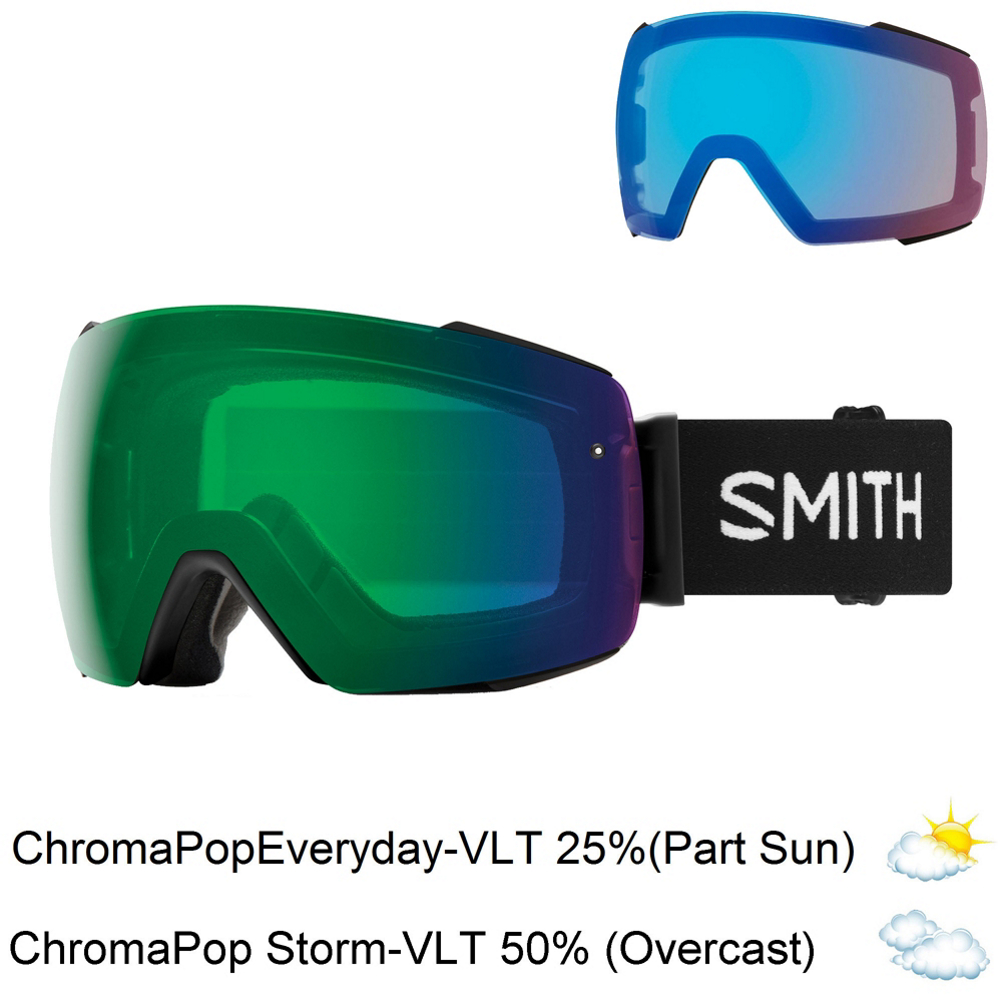 The new Smith I/O Mag Goggles make changing lenses mid-day easier than it's ever been. A streamlined design has reduced unnecessary elements, so you can have optimized performance on the mountain. The Smith MAG lens changing system uses a rimless design with eight magnetic contact points and two locking mechanism to ensure lenses stay firmly in place during intense riding; when you need to change them out, all you have to do is open up the levers on both sides and the lens will pop right off. Using performance Chromapop lenses, the I/O Mag gives you top-quality level clarity and definition of your surroundings. The Spherical Carbonic X-Lens is one of Smith's largest spherical lenses, providing the best field of view possible. The lens also comes equipped with the 5X Anti-Fog Technology, which, with the AirEvac integration technology, provides a clear view under any circumstances. 3-Layer DriWix Face Foam tightly but softly seals out the elements and wicks away moisture when you begin