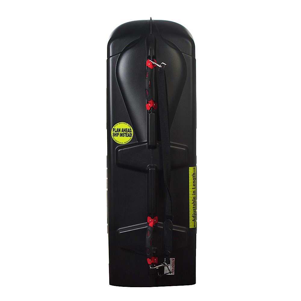 The Sportube Series 3 is an excellent option for you to haul up to three pairs of skis or two snowboards on your next winter vacation.  Made from HDPE, this Hard Plastic Shell gives your skis the ultimate in protection against rough airline travel.  The Telescoping Design allows you to adjust the length of the Sportube from 107-183cm to accommodate skis of all styles and shapes.  A TSA Approved Locking Pin keeps your skis safe and secure.  Light padding for the tips and tails add extra protection from baggage handlers and conveyer belts.  Durable Rubber Wheels and an Easy Pull Handle make for easy transporting.  Hard Shell Construction,  Designed to Protect Two Snowboards, Bindings, and Boots or up to Three Pairs of Alpine Skis and Poles,  Fits all Snowboards, Skis, and Binding Types up to 183cm in Length,  Skis and Boards Fit Topsheets Facing Each Other Tip to Tail,  Easy Pull Handle,  Shippable,  Hard Plastic HDPE Shell,  Telescoping Design,  Lockable with TSA Approved Wire Lock,  D