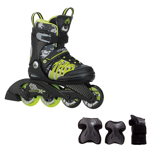 K2 SK8 Hero X Pro Boys Inline Skates with Flash Plus Jr Pads, , 600