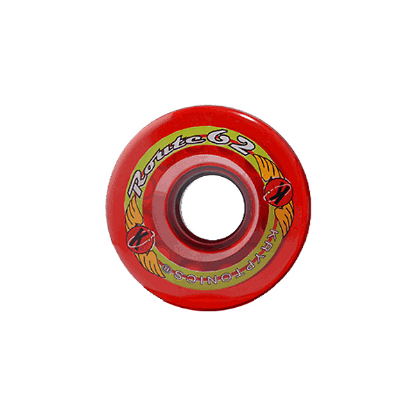 Kryptonics Route 62mm Roller Skate Wheels - 8 Pack, Clear Red, 600