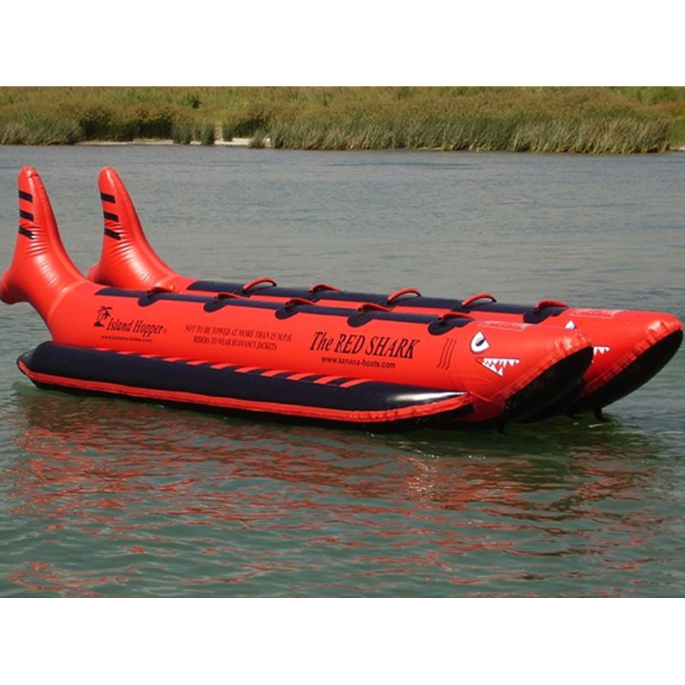 Island Hopper The Red Shark Banana Boat 10 Passenger Side-By-Side Towable Tube