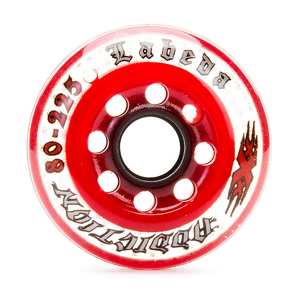 Labeda Addiction XXX 225 Indoor Inline Hockey Skate Wheels - 4 Pack, Clear-Red, 600