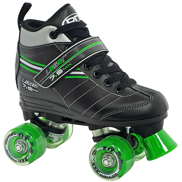 Roller Derby Laser 7.9 MX Boys Speed Roller Skates, Black-Green, 600