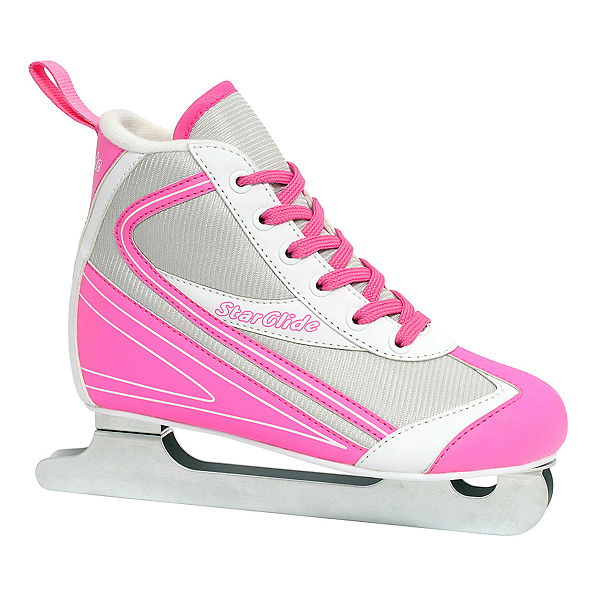 Lake Placid Star Glide Girls Double Runner Ice Skates, Pink-White, 600