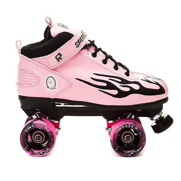 Rock Pink Flame Swirl Womens Speed Roller Skates, Pink-Black Flames, 600