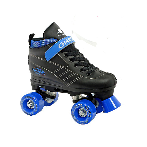 Pacer Charger Junior Boys Speed Roller Skates, Black-Blue, 600