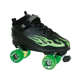 Rock Sonic Outdoor Roller Skates, Black-Green Flames, 256
