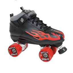 Rock Sonic Outdoor Roller Skates, Black-Red Flames, 256