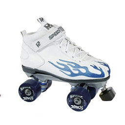 Rock Sonic Outdoor Roller Skates, White-Blue Flames, 256