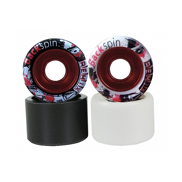 Backspin Remix Aluminum Hub Roller Skate Wheels - 8 Pack, Black-Red, 600