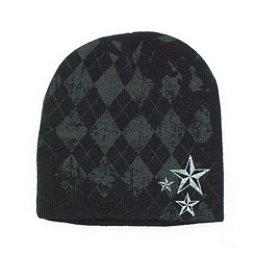 Hybrid Tees Ski or Snowboard Hat Hat, Bk W Pattern-Wh Stars, 256
