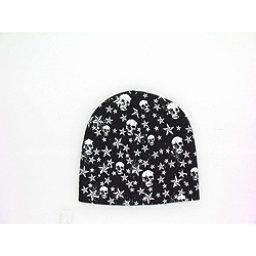 Hybrid Tees Ski or Snowboard Hat Hat, Bk W Wh Skull-Stars, 256