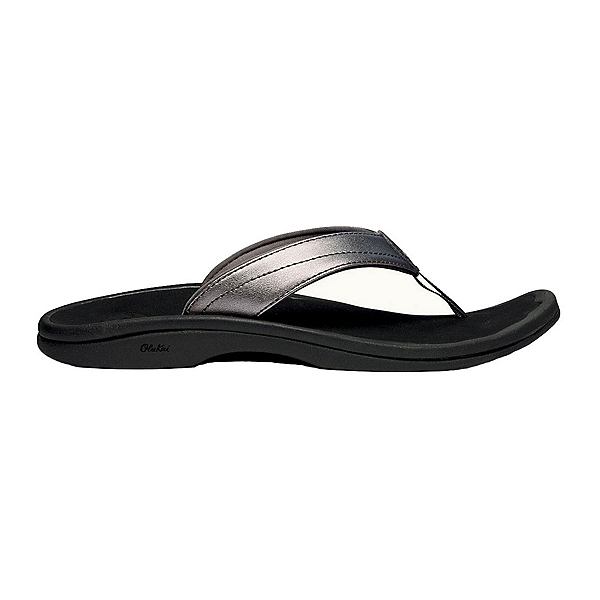 OluKai 'Ohana Womens Flip Flops, Pewter-Black, 600